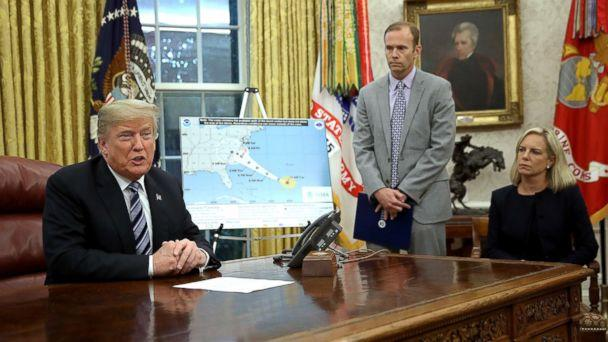 PHOTO: President Donald Trump speaks while meeting with FEMA Administrator Brock Long (C) and Homeland Security Secretary Kirstjen Nielsen in the Oval Office on Sept. 11, 201,8 in Washington, D.C. (Win McNamee/Getty Images)