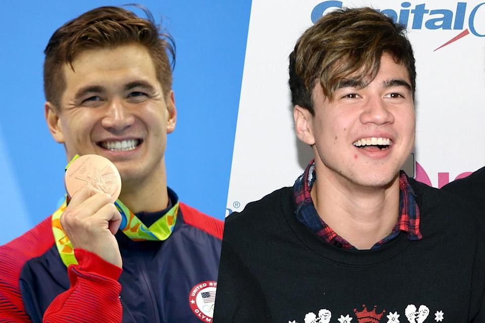<p>American swimmer Nathan Adrian (left) and member of the band 5 Seconds of Summer Calum Hood (right). </p>