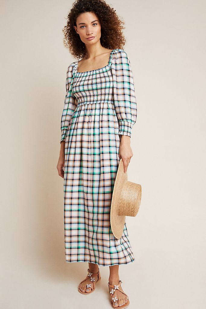"""Anthropologie is offering an <a href=""""https://www.anthropologie.com/sale-clothing"""" rel=""""nofollow noopener"""" target=""""_blank"""" data-ylk=""""slk:additional 50% off all sale items"""" class=""""link rapid-noclick-resp"""">additional 50% off all sale items</a> (price reflected in cart at checkout). <br> <br> <strong>Maeve</strong> Cerie Smocked Midi Dress, $, available at <a href=""""https://go.skimresources.com/?id=30283X879131&url=https%3A%2F%2Fwww.anthropologie.com%2Fshop%2Fcerie-smocked-midi-dress"""" rel=""""nofollow noopener"""" target=""""_blank"""" data-ylk=""""slk:Anthropologie"""" class=""""link rapid-noclick-resp"""">Anthropologie</a>"""