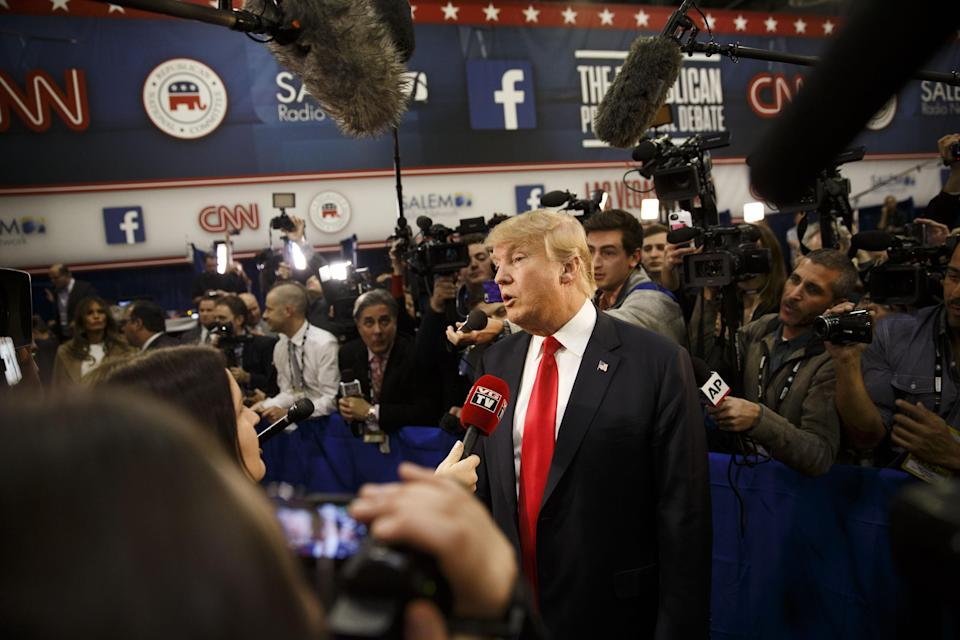 """<span class=""""s1"""">Donald Trump speaks in the spin room after a Republican candidate debate in Las Vegas in 2015. (Photo: Patrick T. Fallon/Bloomberg via Getty Images)</span>"""