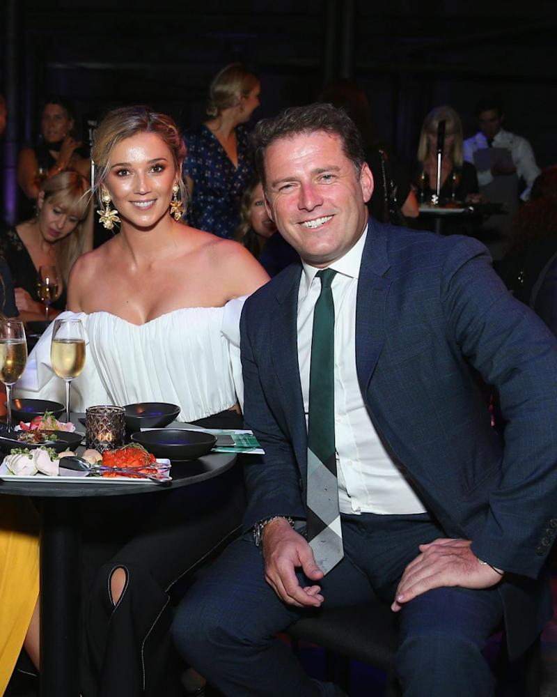 Karl Stefanovic has confirmed he is engaged to Jasmine Yarbrough. The pair are pictured here together at the 2018 David Jones Autumn Winter Fashion Show. Source: Getty