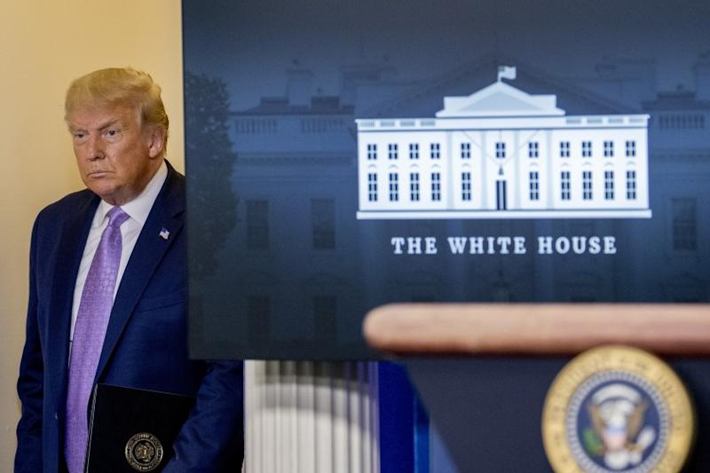 President Donald Trump arrives for a briefing in the James Brady Press Briefing Room of the White House, Wednesday, Aug. 5, 2020 in Washington. (AP Photo/Andrew Harnik)