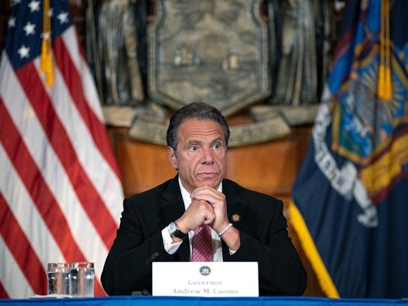 Gov. Andrew Cuomo gives a daily news briefing in Albany, NY.