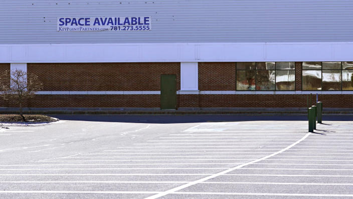 "A ""Space Available"" real estate sign is posted on the facade of a closed supermarket, Tuesday, March 2, 2021, in Manchester, N.H. After a year of ghostly airports, empty sports stadiums and constant Zoom meetings, growing evidence suggests that the economy is strengthening. Hiring picked up in February 2021. Business restrictions have eased as the pace of viral infections has ebbed. Yet the economy remains far from normal. (AP Photo/Charles Krupa)"