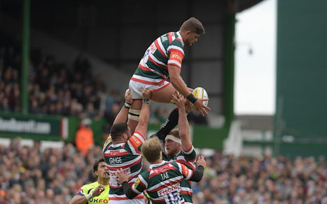 <span>Leicester go up for a line-out against Northamton</span> <span>Credit: Rex Features </span>