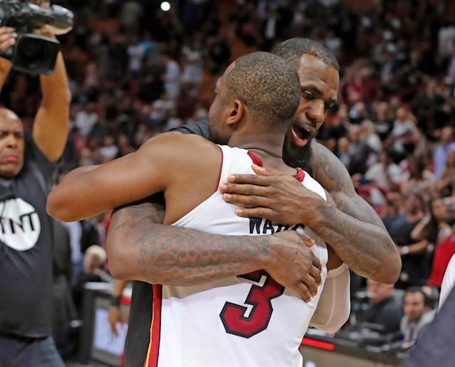 LeBron James and Dwyane Wade faced off for the final time on Monday night in Los Angeles. (Charles Trainor Jr./Miami Herald/Getty Images)