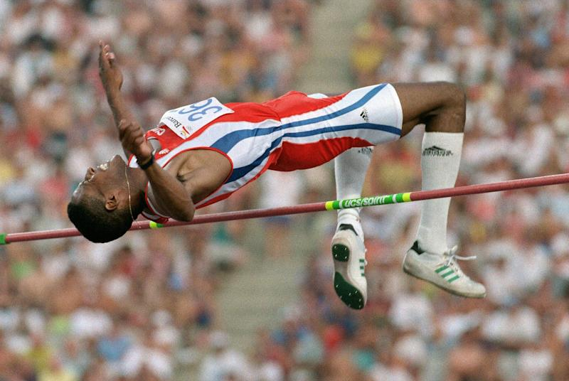 Javier Sotomayor of Cuba attempts to jump 2.37m in the high-jump competition 02 August, 1992 in Barcelona, Spain. Sotomayor failed at that height, but won the gold medal with a jump of 2.34m