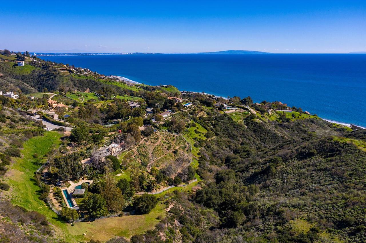 <p>The private estate is in the canyons above the Pacific.</p>
