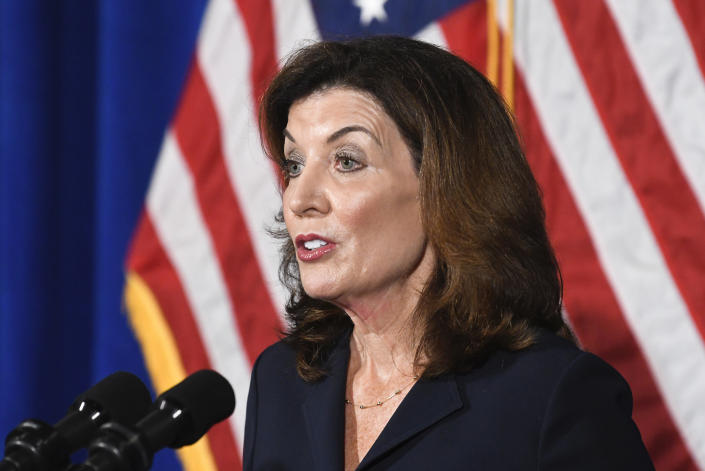 New York Lt. Gov. Kathy Hochul speaks at the state Capitol, Wednesday, Aug. 11, 2021 in Albany, N.Y. Hochul is preparing to take the reins of power after Gov. Andrew Cuomo announced he would resign from office. (AP Photo/Hans Pennink)