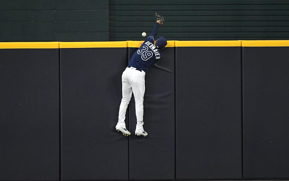 Tampa Bay Rays center fielder Kevin Kiermaier can't come up with a catch on a solo home run.