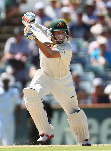PERTH, AUSTRALIA - DECEMBER 03: Michael Hussey of Australia bats during day four of the Third Test Match between Australia and South Africa at WACA on December 3, 2012 in Perth, Australia.  (Photo by Robert Cianflone/Getty Images)