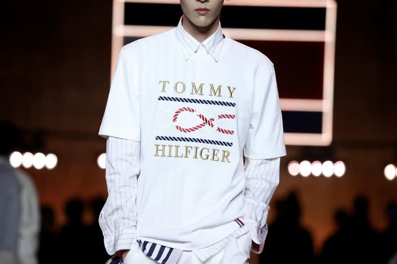 Models present creations during the Tommy Hilfiger 'TOMMYNOW Spring 2020' show during London Fashion Week in London