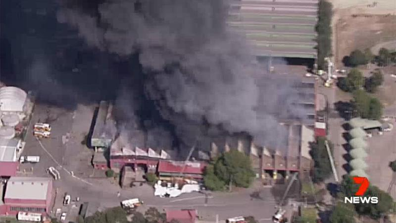 Eleven fire crews are battling the blaze. Source: 7 News