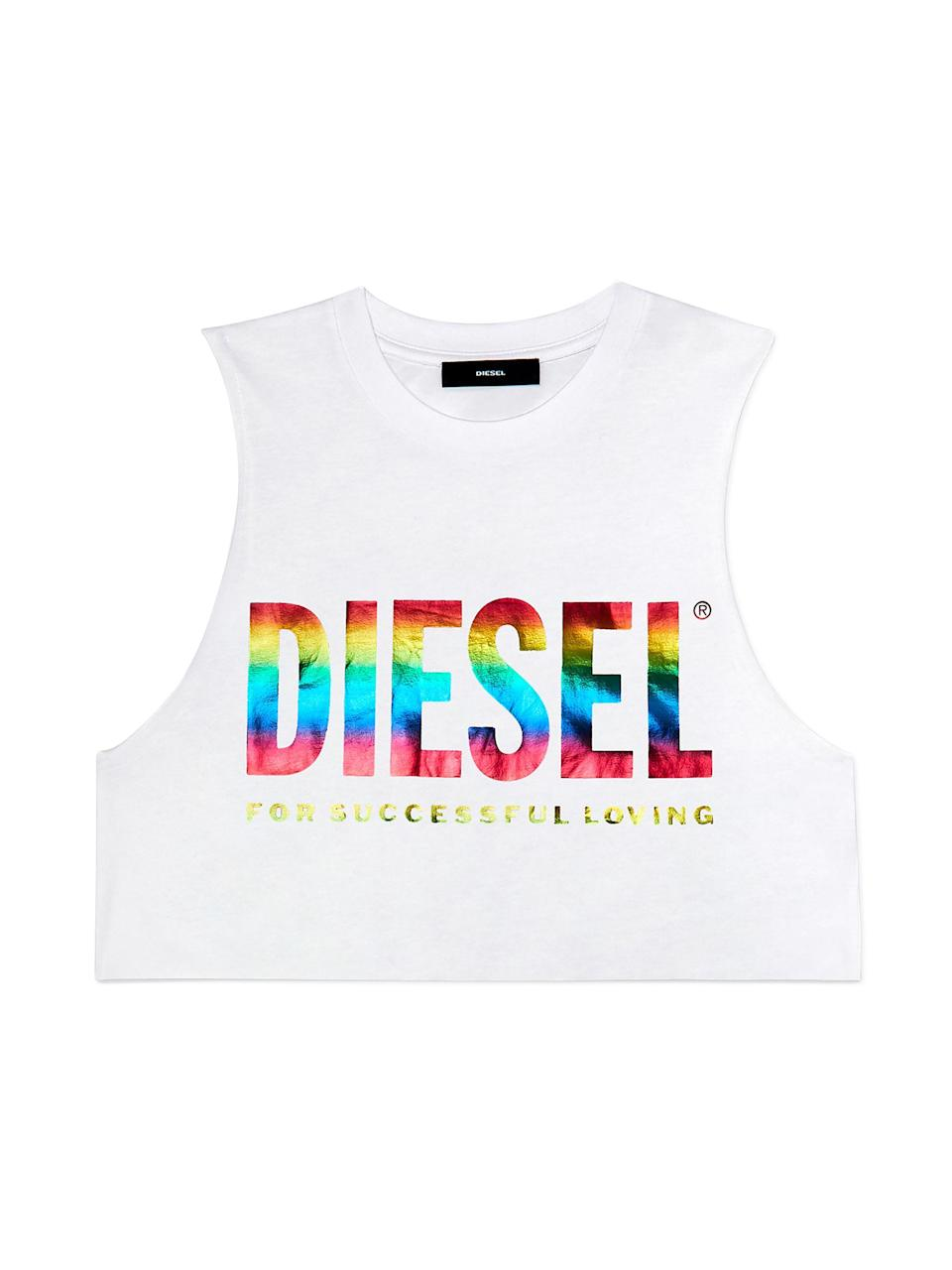 """<p><strong>Diesel</strong></p><p>diesel.com</p><p><strong>$68.00</strong></p><p><a href=""""https://go.redirectingat.com?id=74968X1596630&url=https%3A%2F%2Fshop.diesel.com%2Fen%2Ftshirts%2Fbmowt-diego-new-p%2F00SLT10GAYL.html&sref=https%3A%2F%2Fwww.harpersbazaar.com%2Ffashion%2Ftrends%2Fg32932586%2Fpride-month-outfit-ideas%2F"""" rel=""""nofollow noopener"""" target=""""_blank"""" data-ylk=""""slk:Shop Now"""" class=""""link rapid-noclick-resp"""">Shop Now</a></p><p>For Pride 2020, the Italian clothing brand launched a capsule collection titled For Successful Loving. It also plans to support the San Francisco Lesbian Gay Bisexual Transgender Community Center and Transgender Europe.</p>"""