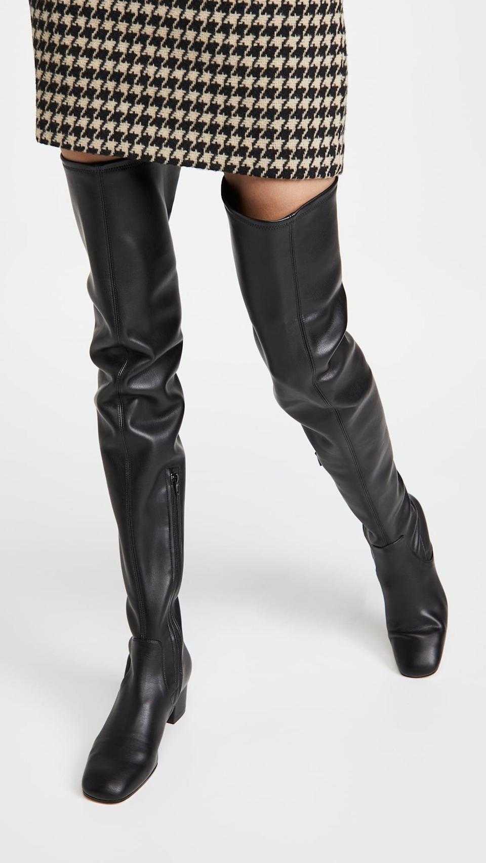 <p>Over the knee boots are coming back in style, and we like these sleek leather <span>Staud Aimee Boots</span> ($495).</p>
