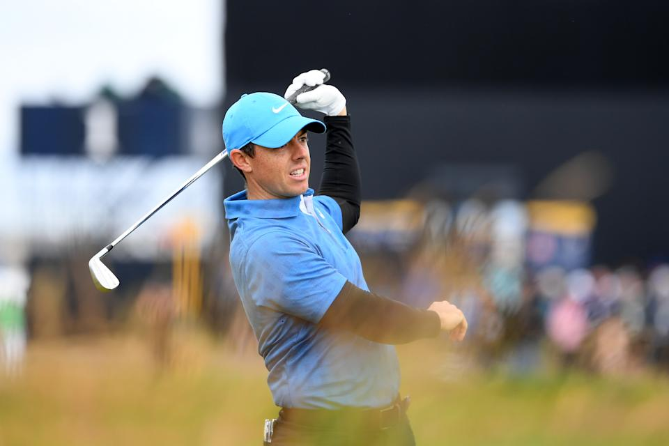 Rory McIlroy of Northern Ireland reacts after his second shot on the second hole during the first round of the 148th Open Championship held on the Dunluce Links at Royal Portrush Golf Club on July 18, 2019 in Portrush, United Kingdom. (Photo by Ross Kinnaird/R&A/R&A via Getty Images)