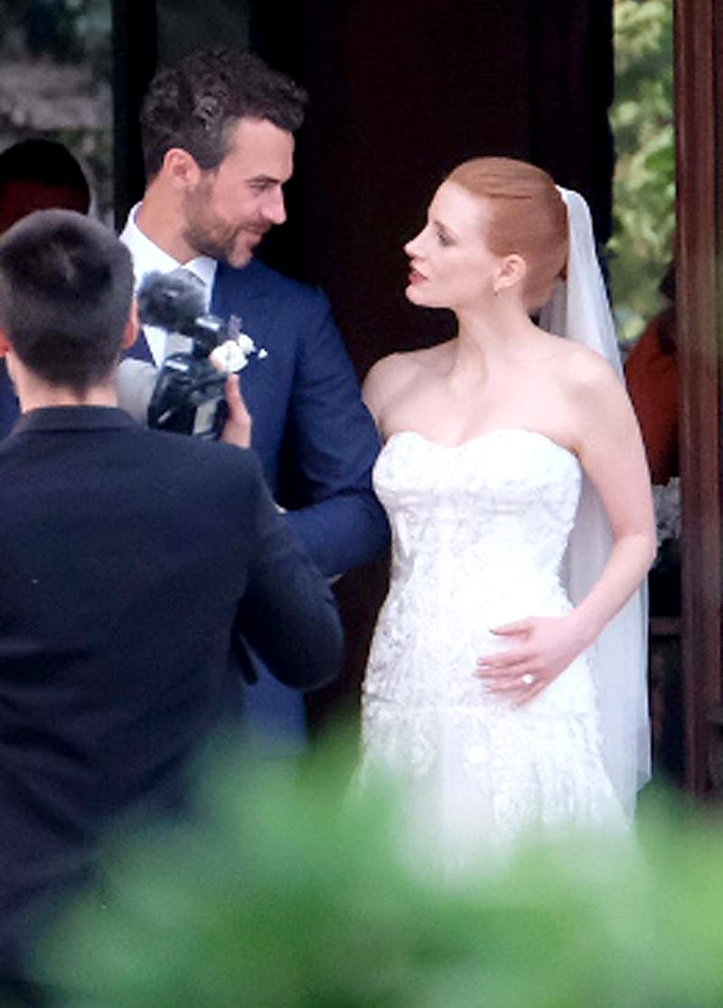 Jessica Chastain at her wedding to Gian Luca Passi de Preposulo in Treviso, Italy, on June 10. (Photo: Ciao Pix/BACKGRID)