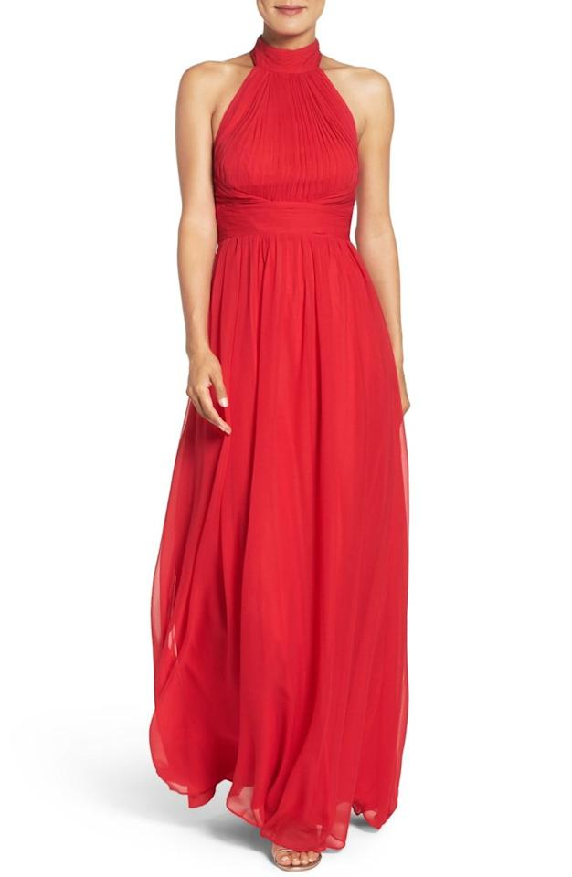 """<p><em>Aidan Mattox Chiffon Gown, $385, available at <a rel=""""nofollow"""" href=""""http://shop.nordstrom.com/s/aidan-mattox-chiffon-gown/4469348?fashioncolor=GARNET&mbid=synd_yahoostyle&origin=category-personalizedsort"""">nordstrom.com</a></em></p>"""