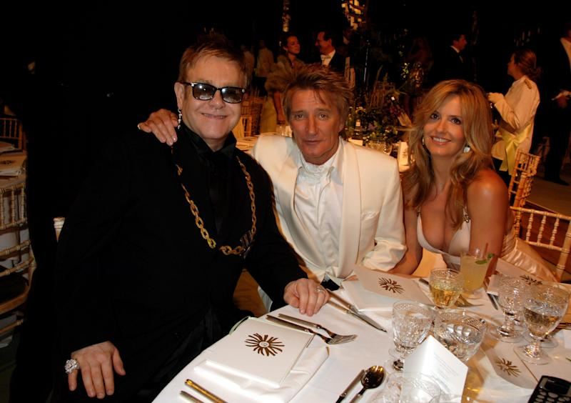 LONDON - JUNE 02: (EMBARGOED FOR PUBLICATION IN UK TABLOID NEWSPAPERS UNTIL 48 HOURS AFTER CREATE DATE AND TIME. NO UK MAGAZINES) (L-R) Sir Elton John, Rod Stewart and Penny Lancaster attend the Raisa Gorbachev Foundation Party at Stud House, Hampton Court Palace on June 2, 2007 in Richmond upon Thames, London, England. The night is in aid of the Raisa Gorbachev Foundation - an international fund fighting child cancer. (Photo by Dave M. Benett/Getty Images)