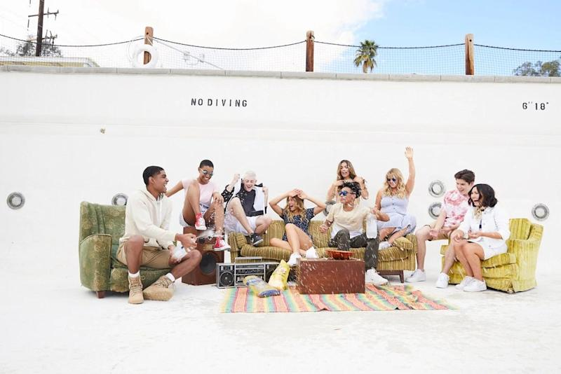 A Hollister ad campaign featuring teens hanging out in an empty swimming pool.