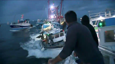 French and British fishing boats collide during scrap in English Channel over scallop fishing rights, August 28, 2018 in this still image taken from a video. France 3 Caen/via REUTERS