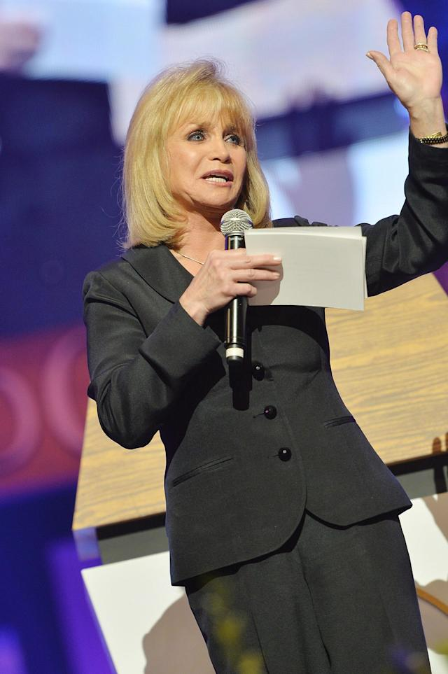 NASHVILLE, TN - MAY 02: (EXCLUSIVE COVERAGE) Country singer Barbara Mandrell speaks at the funeral service for George Jones at The Grand Ole Opry on May 2, 2013 in Nashville, Tennessee. Jones passed away on April 26, 2013 at the age of 81. (Photo by Rick Diamond/Getty Images for GJ Memorial)