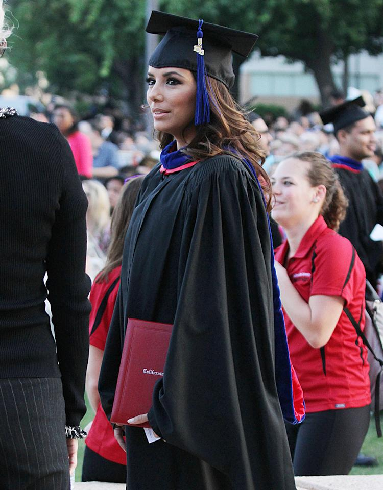 Eva Longoria receives her Master of  Arts in Chicana and Chicano Studies from California State University, Northridge, Ca