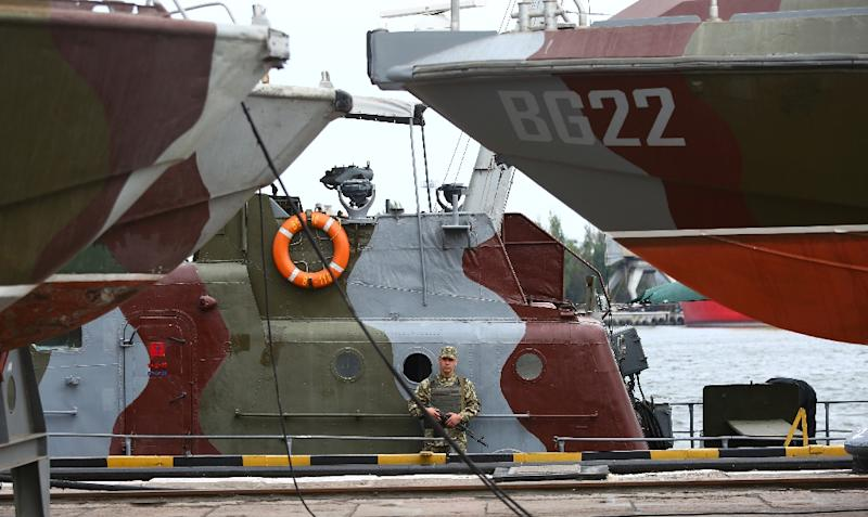 The Sea of Azov is a key strategic and commercial zone between Russia and Ukraine, which has patrol boats, pictured, at the port of Mariupol (AFP Photo/Aleksey FILIPPOV)