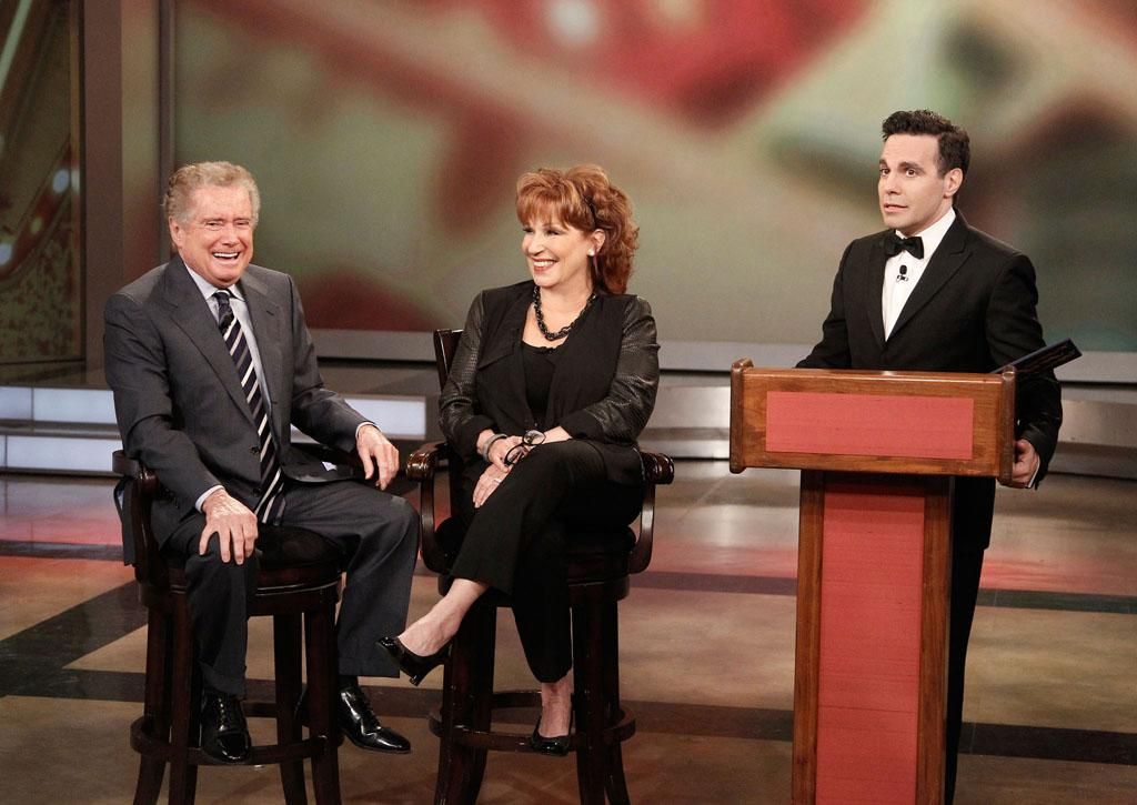 "Regis Philbin, Joy Behar, and Mario Cantone on Joy's final episode as co-host of ABC's ""The View"" on Friday, August 9, 2013."