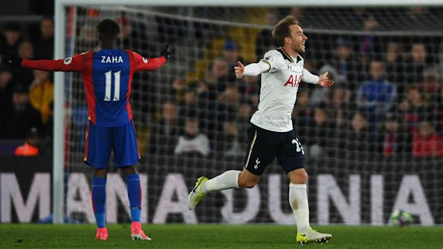 Christian Eriksen's goal kept Tottenham's title hopes alive as they again closed the gap to Chelsea with victory at Crystal Palace.