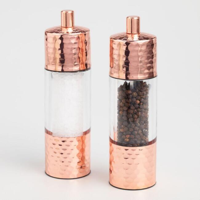 """<p>There's something about grinding your own salt and pepper that makes you feel like you've got adulting on lock. These hammered copper mills allow you to adjust the coarseness.</p><p><strong><em>BUY IT NOW: Hammered Copper Salt And Pepper Grinder Set, $50; </em></strong><a href=""""https://www.worldmarket.com/product/hammered-copper-salt-and-pepper-grinder-set.do?sortby=ourPicks&from=fn"""" rel=""""nofollow noopener"""" target=""""_blank"""" data-ylk=""""slk:Worldmarket.com"""" class=""""link rapid-noclick-resp""""><strong><em>Worldmarket.com</em></strong></a></p>"""