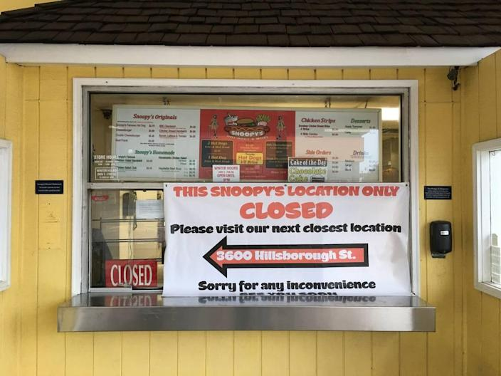 The Snoopy's Hot Dogs and More location on Hillsborough Street is closing permanently.