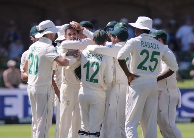 Keshav Maharaj, face at left, controlled things for the hosts