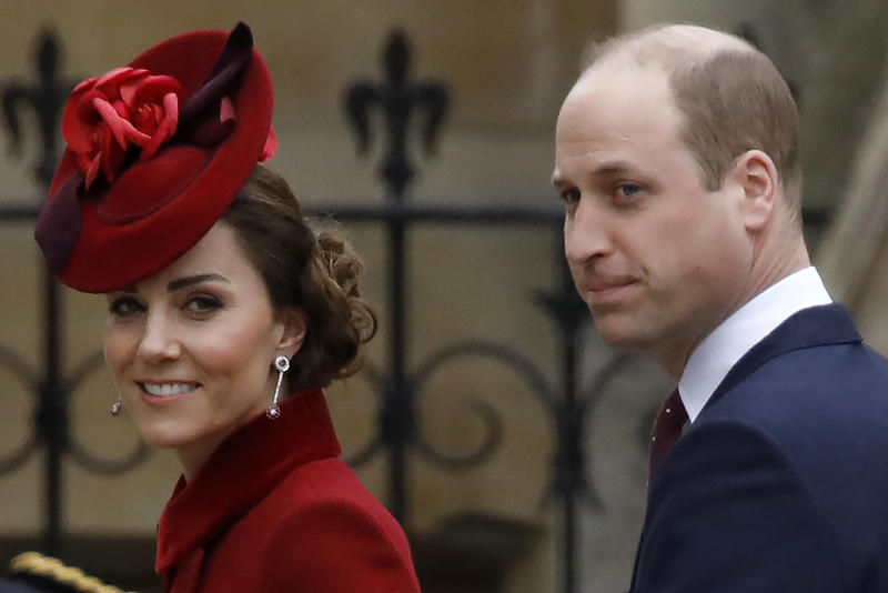 Britain's Catherine, Duchess of Cambridge and Britain's Prince William, Duke of Cambridge, arrive to attend the annual Commonwealth Service at Westminster Abbey in London on March 09, 2020. - Britain's Queen Elizabeth II has been the Head of the Commonwealth throughout her reign. Organised by the Royal Commonwealth Society, the Service is the largest annual inter-faith gathering in the United Kingdom. (Photo by Tolga AKMEN / AFP) (Photo by TOLGA AKMEN/AFP via Getty Images)