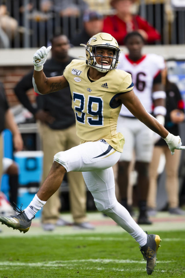 Georgia Tech defensive back Wesley Walker celebrates a fumble recovery on a punt return against Georgia during the first half of an NCAA college football game Saturday, Nov. 30, 2019 in Atlanta. (AP Photo/John Amis)