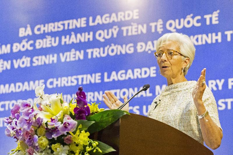 IMF Managing Director Christine Lagarde speaking at the National Economics University in Hanoi on March 17, 2016