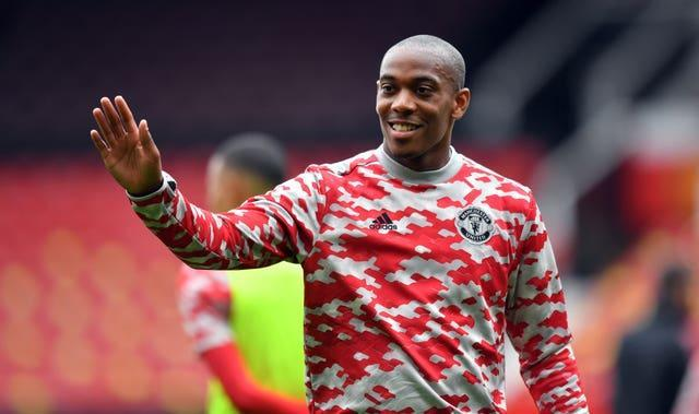 Anthony Martial warms up