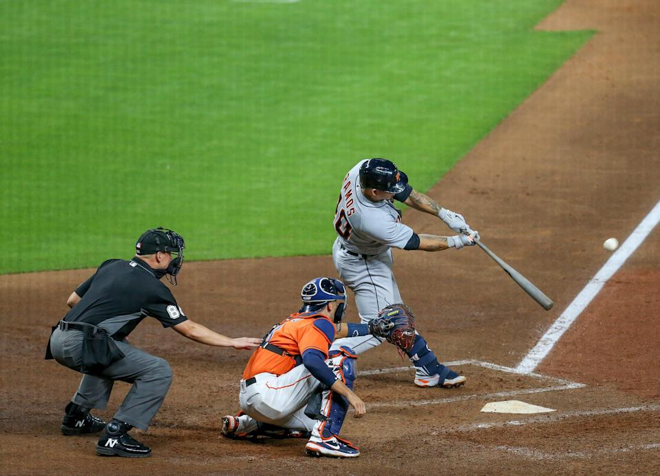 Detroit Tigers catcher Wilson Ramos (40) hits a two run home run against the Houston Astros in the fifth inning April 13, 2021 at Minute Maid Park.