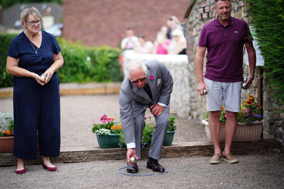 The Prince of Wales tries his hand at petanque (boules) (Ben Birchall/PA) (PA Wire)