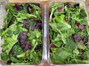 <p>28 cups of mixed greens</p>