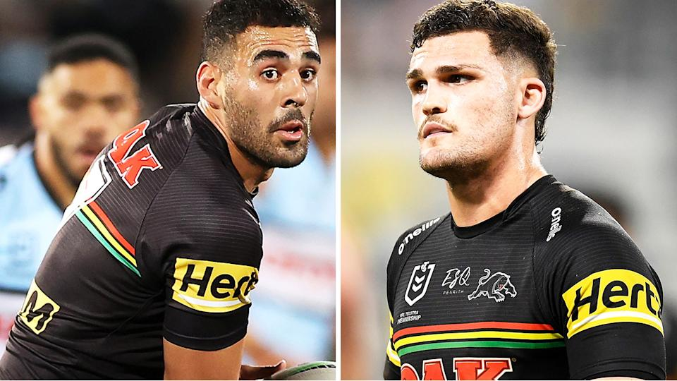 Tyrone May and Nathan Cleary will be interviewed by the NRL Integrity Unit to establish whether they knew three men who illegally travelled from Sydney to Queensland to attend the NRL grand final. Pictures: Getty Images