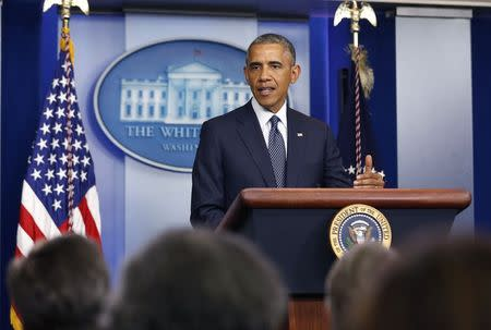 U.S. President Barack Obama talks about Ukraine while in the press briefing room at the White House in Washington