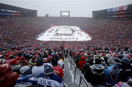 A general view in the first period during the 2014 Winter Classic hockey game between the Detroit Red Wings and the Toronto Maple Leafs at Michigan Stadium. Mandatory Credit: Tim Fuller-USA TODAY Sports