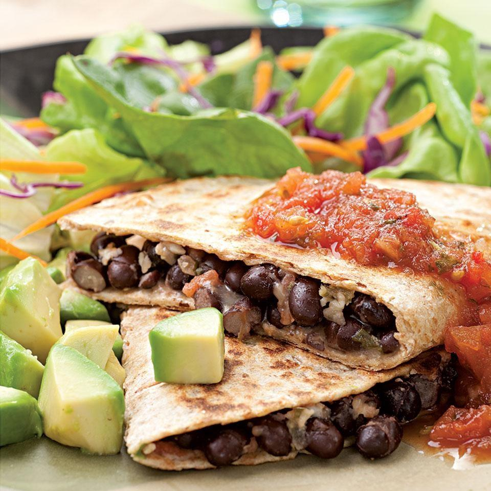 <p>In a hurry? These satisfying quesadillas take just 15 minutes to make. We like them with black beans, but pinto beans work well too. If you like a little heat, be sure to use pepper Jack cheese in the filling. Serve with: A little sour cream and a mixed green salad.</p>