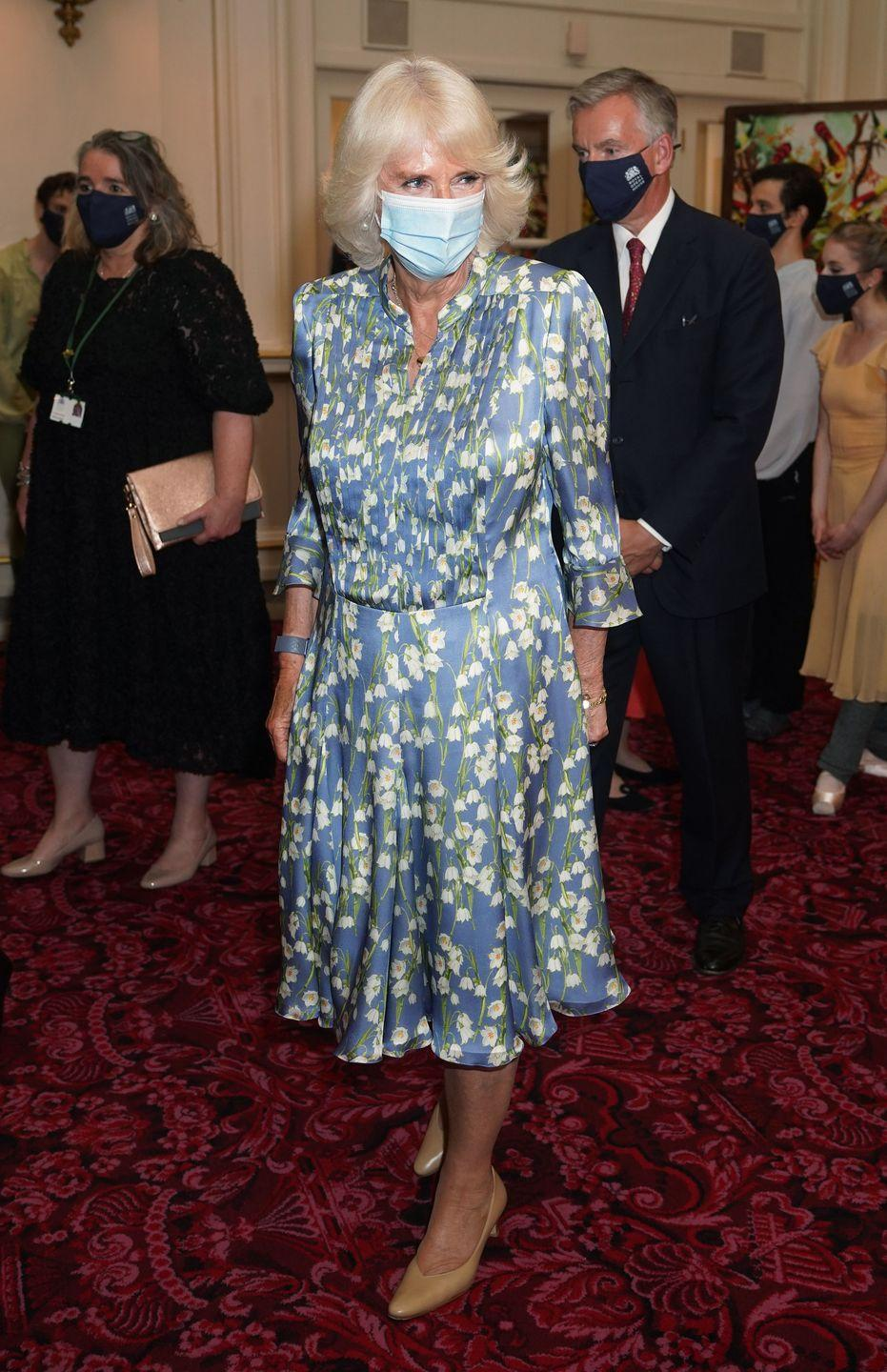 <p>She chose a silky floral dress and nude pumps for a night at the Royal Ballet.</p>