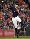 Houston Astros shortstop Carlos Correa throws out Chicago White Sox's Tim Anderson during the fifth inning of a baseball game, Saturday, June 19, 2021, in Houston. (AP Photo/Eric Christian Smith)