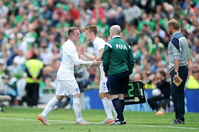 England's Jamie Vardy comes on as a substitute to make his debut. (Martin Rickett/PA)