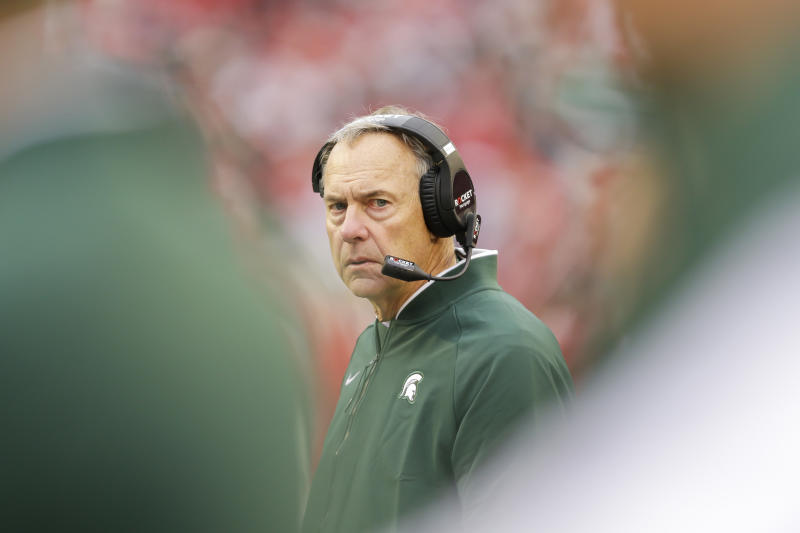 Michigan State head coach Mark Dantonio looks on during the second half of a blowout loss to Wisconsin on Saturday. (AP)