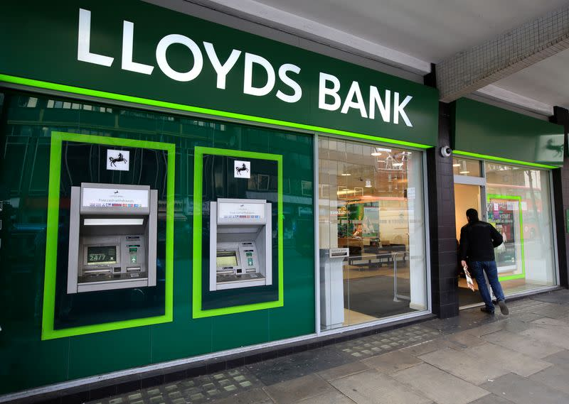 A man enters a Lloyds Bank branch in central London