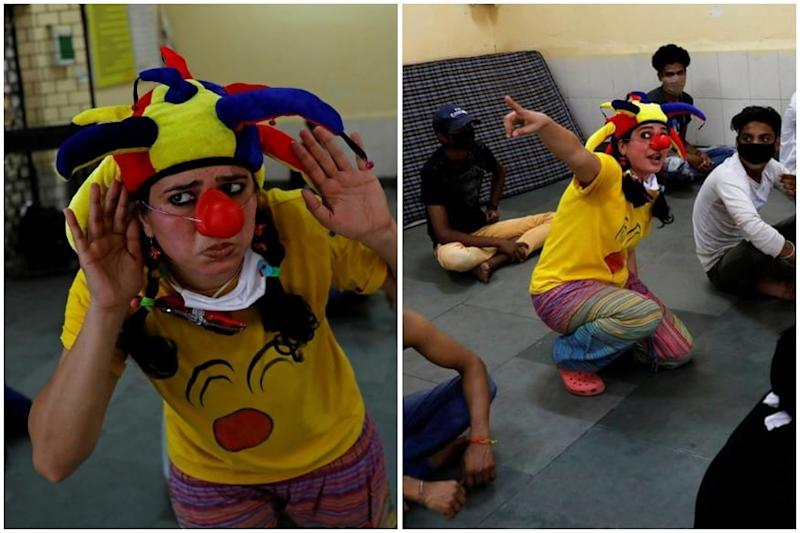 Two Sisters Dressed as Clowns to Bring a Smile to Migrant Workers in Delhi Shelter Homes